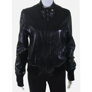 DOMA Leather Moto Biker Zip High Collar Jacket M